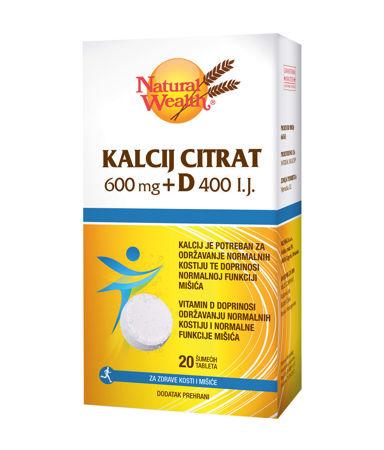Picture of NATURAL WEALTH KALCIJ CITRAT  600MG+D 400 I.J.